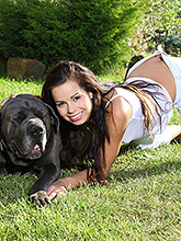 Young Beautiful Teen Plays With Her Pussy In The Yard - Picture 1