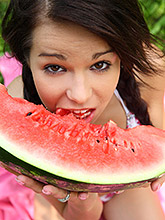 Gorgeous 18 Year Old Cutie Eating Watermelon Outdoors - Picture 6