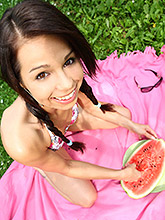 Gorgeous 18 Year Old Cutie Eating Watermelon Outdoors - Picture 9