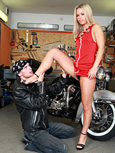Sexy Biker Babe In Red Dress Fucking In The Garage - Picture 2